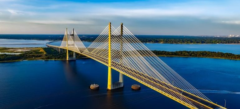 An aerial view of the bridge that local movers Florida pass daily