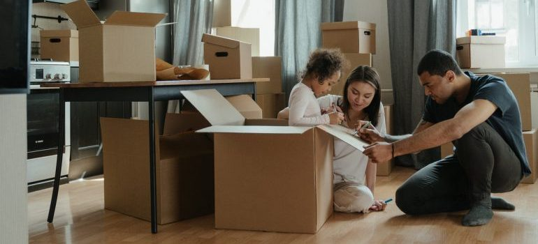 A family packing for a move.